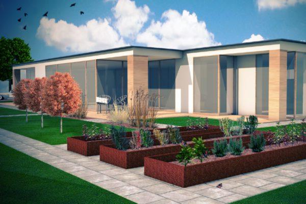 Ogród przy domu o prostej bryle 2